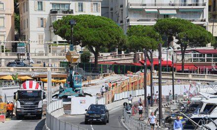Temporary traffic ramp at Port Hercule