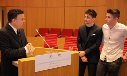 Monegasques embrace Charles Leclerc with Medal of Honour