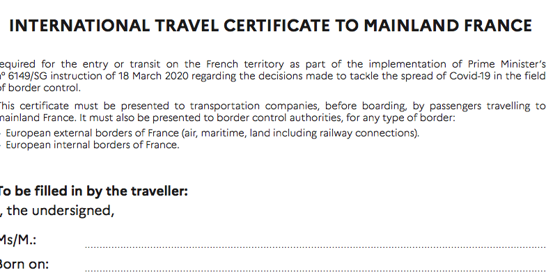 New form to fill for travellers to France