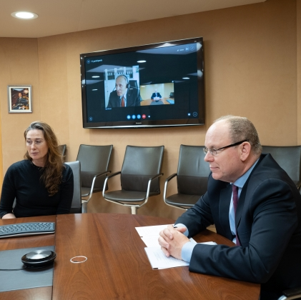 Prince Albert talks remotely with post-doctoral students