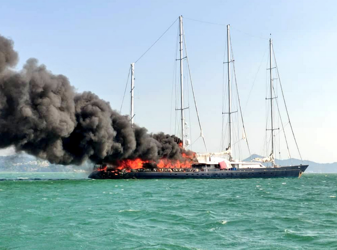 Magnate's yacht goes up in flames off Malaysia