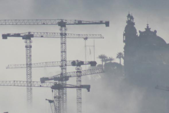 Monaco almost hidden in fog