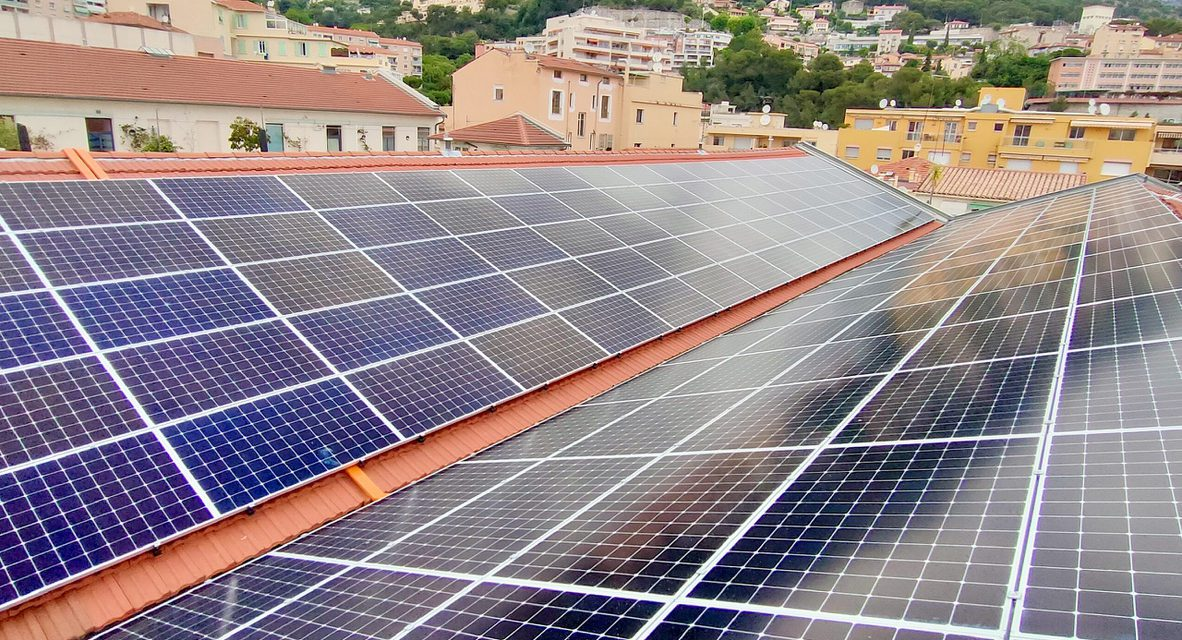 Photovoltaic panels installed on roof of Ballets de Monte-Carlo workshop