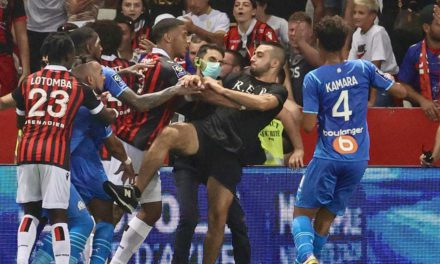 Players and fans injured as carnage ensues at Allianz Riviera Arena
